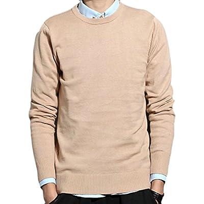 Nice ONTBYB Men Slim Fit Solid Color Crewneck Long Sleeve Knit Sweater hot sale