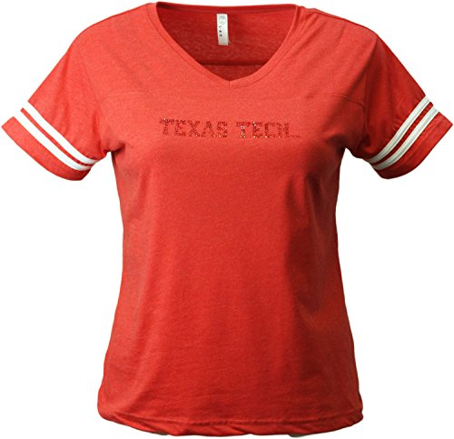 (Nitro USA NCAA Texas Tech Raiders Womens Collegiate Striped Sleeve V-Neck Short Sleeve Tee, Large, Red)