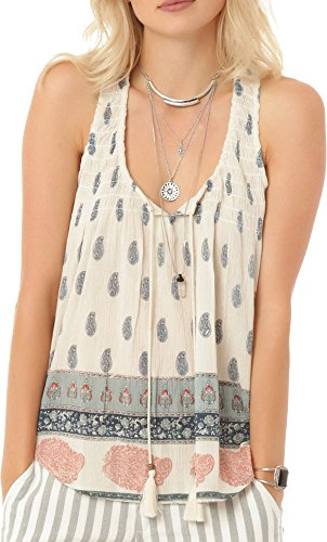 O'Neill Juniors Rolla Printed Woven Blouse, Winter White/Winter White, Large ()