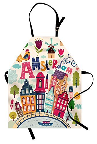 Ambesonne Dutch Apron, Cartoon Style Amsterdam Architecture Illustration with Colorful City and Trees, Unisex Kitchen Bib with Adjustable Neck for Cooking Gardening, Adult Size, Pastel Blush