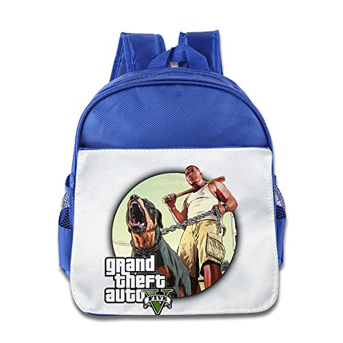 Price comparison product image XJBD Custom Personalized Grand Theft Auto V Kids Children School Bagpack Bag For 1-6 Years Old RoyalBlue