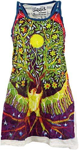 Guru-Shop Weed Top, długa koszulka, minisukienka z drzewem życia, damska, bawełna, koszula z nadrukiem alternatywa odzież: Odzież