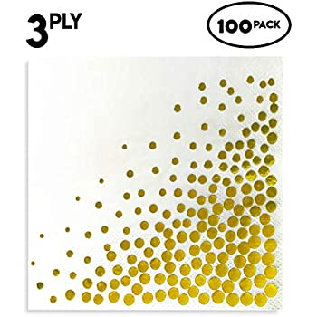 2e5b9029838e Amazon.com  Gold Cocktail Napkins - 100-Pack Disposable Napkins with ...