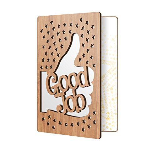 Premium Congratulations Card: Bamboo Wood Greeting Card, Handmade Card Perfect For Saying Good Job, Or Congrats