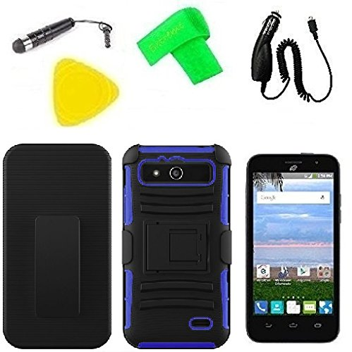 Clip Faceplate Belt Blue (Belt Clip Holster w Hybrid Cover Phone Case + Car Charger + Screen Protector + Extreme Band + Stylus Pen + Pry Tool For Straight Talk Tracfone NET10 ZTE Atrium Z793C (Belt Clip Holster Black/Blue))