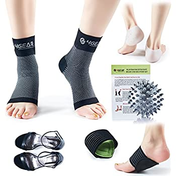 Plantar Fasciitis Pain Relief Recovery Kit - 9 PCs - Foot Compression Sleeves, Heel Protectors, Cushioned Arch Support Wraps & Inserts, Foot Massage Ball- Instruction Guide Included (L/XL)