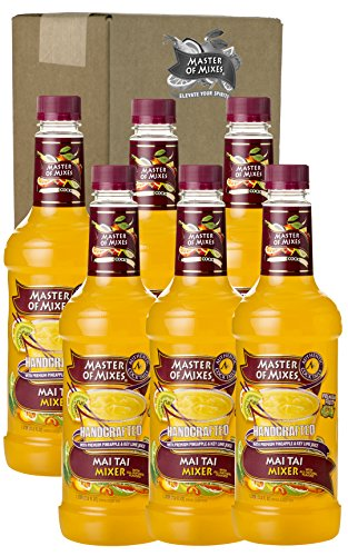 Master of Mixes Mai Tai Drink Mix, Ready To Use, 1 Liter Bottle (33.8 Fl Oz), Pack of 6 (Halloween Drinks Non-alcoholic)