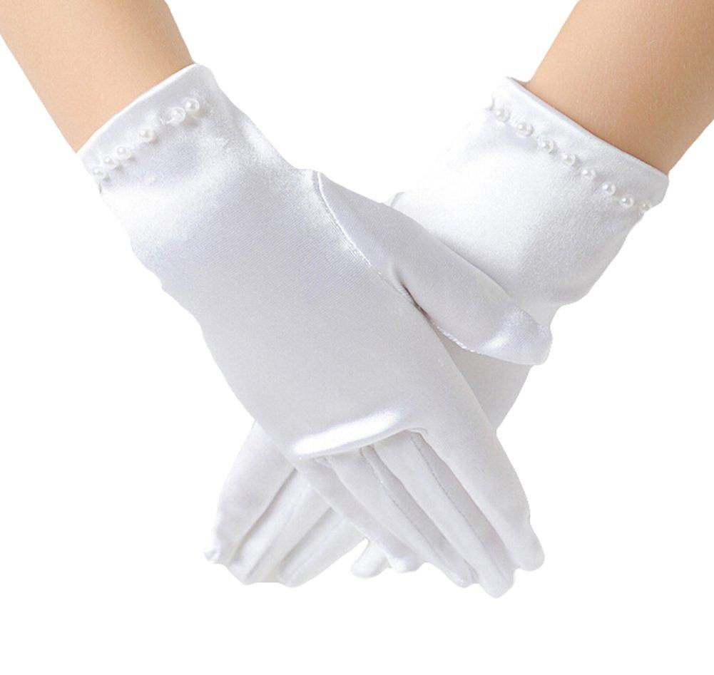 Guanti Toruiwa Girls Kids Dress Galateo guanti Full finger bambini raso bianco elastico polso lunghezza guanti da principessa da sera per 1 paia di guanti da sposa Large