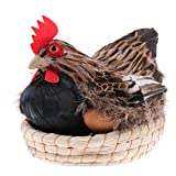 MonkeyJack Fun Animated Chicken Hen Laying w/ Eggs on Nest Basket Animal Figurine Model Figure Kids Toy Home Decor 11inch