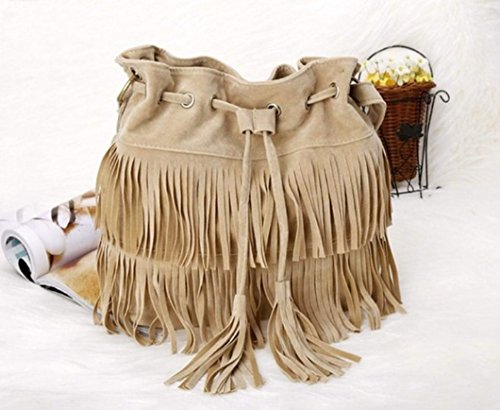 3 cuerpo Beige imitación del del transversal hombro del cubeta las de bolso mujeres ante de franja colores aimerfeel borlas aSwRgqwv