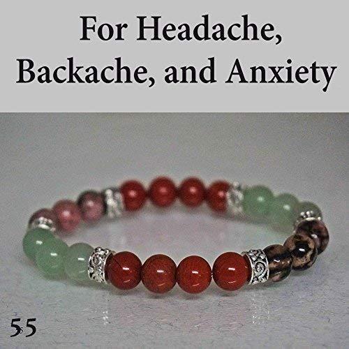 (Healing Yoga Chakra Bracelet For Headache, Backache, and Anxiety. Crystal Healing Gemstones Aventurine Red Jasper Rhodonite)
