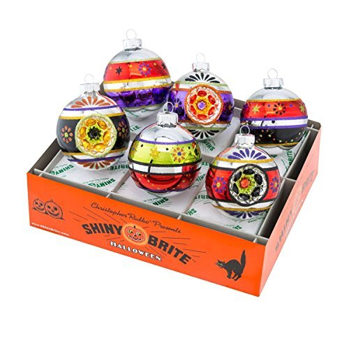 Shiny Brite Halloween Decorated Rounds with Reflectors Ornaments - Set of Six