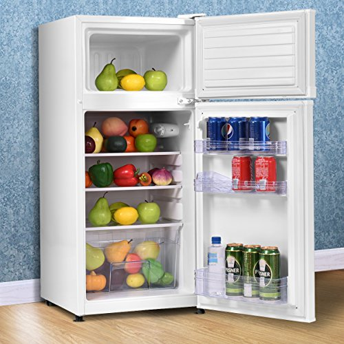 COSTWAY Mini Refrigerator, 2-Door 3.4 cu. ft. Small Compact Under Counter Refrigerator Fridge Freezer Cooler Unit for Dorm, Office, Apartment with Adjustable Removable Glass Shelves (White) by COSTWAY (Image #1)