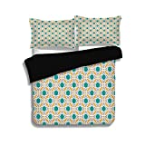 Difference Between Cal King and Eastern King iPrint Black Duvet Cover Set Queen Size,Teal,Geometric Pattern Eastern Religions Inspired Oriental Symmetric Design Print Decorative,Teal Grey Mustard,Decorative 3 Pcs Bedding Set by 2 Pillow Shams