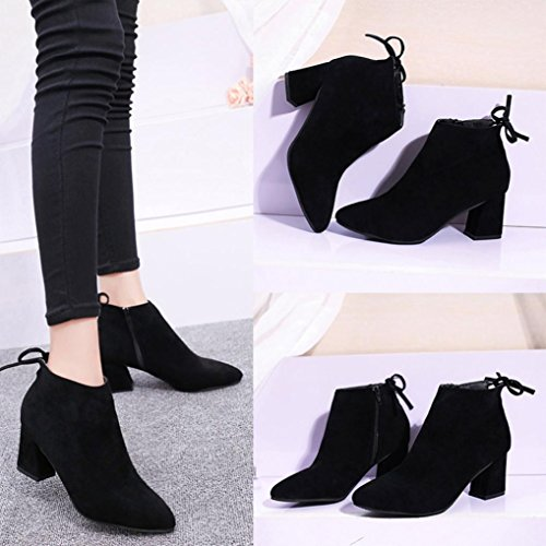 Boots Up US Lace Boots Hemlock Boots 7 Zipper Shoes Ladies Flat Dress Ankle Black High Black Womens Heels 5 g0p1wRq