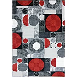 ADGO Collection, Modern Contemporary Rectangular Design Rubber-Backed Non-Slip (Non-Skid) Area Rugs| Thin Low Profile Indoor/Outdoor Floor Rug (5' x 7', Silver9)