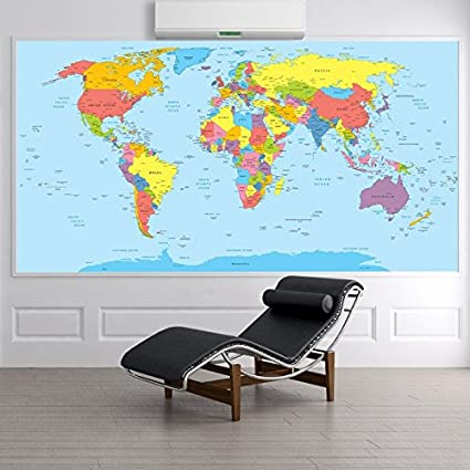 Amazon world map in color educational maps wall mural travel world map in color educational maps wall mural travel photo wallpaper available in 8 sizes xxx gumiabroncs Images