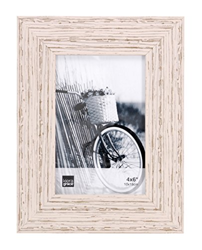 Kiera Grace Maya Picture Frame, 4  by  6 Inch , Weathered White Beachwood