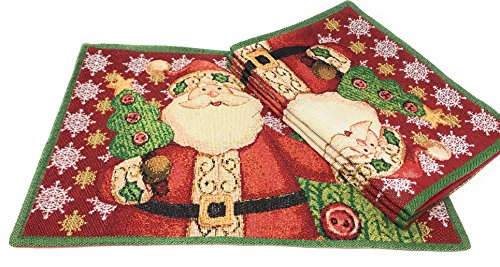 Winters Eve Tapestry (Tache Saint Nick's Christmas Eve Festive Winter Holiday Decorative Tapestry Woven Christmas Santa Claus is Coming Place Mat)