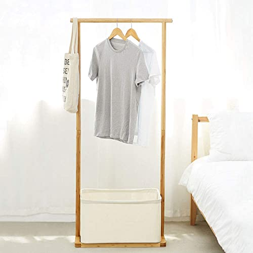 Bamboo Garment Rack with Hamper Clothes Rack for Hanging Clothes Portable Coat Rack Free Standing