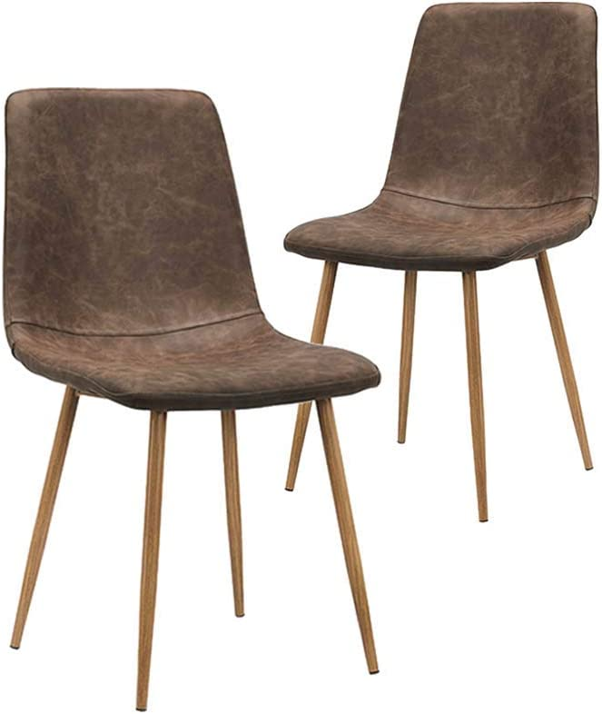 CangLong Dining Kitchen Fabric Cushion Seat Back, Modern Mid Century Living Room Side Chairs with Metal Legs, Set of 2, Brown
