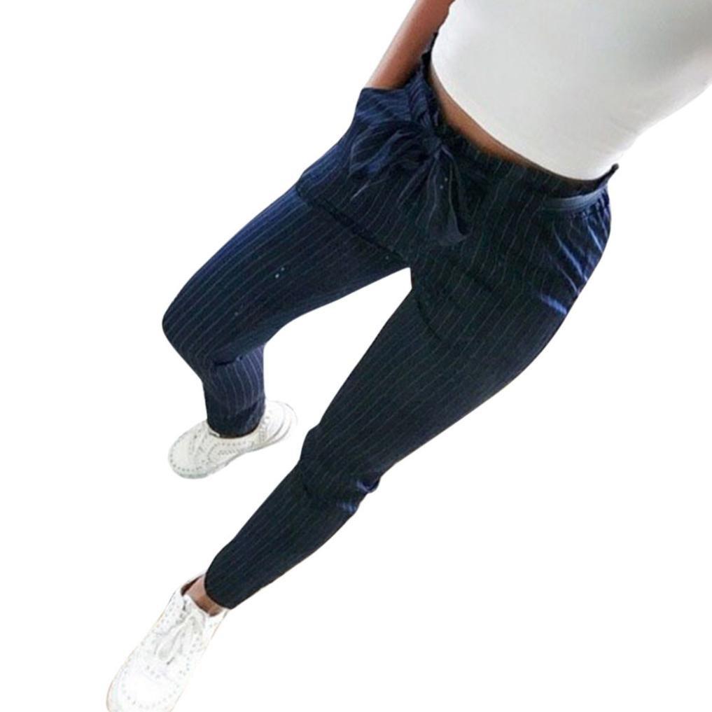 Ankola Women's Pants Women's Slim Straight Leg Stretch Lace up Waist Teens Striped Pants with Pockets (Dark Blue, XL)