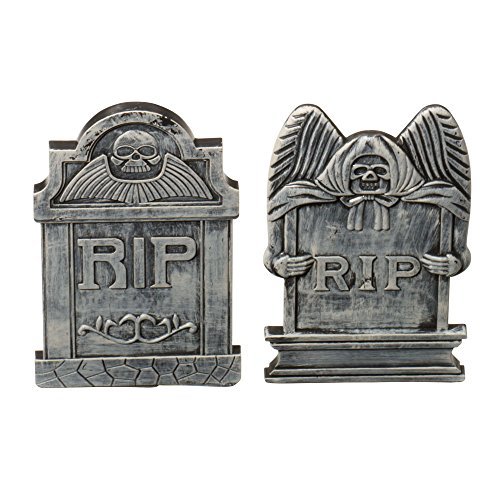 Forum Novelties Graveyard Tombstone Grim Reaper and Skull Decoration Plastic, Assortment of 2