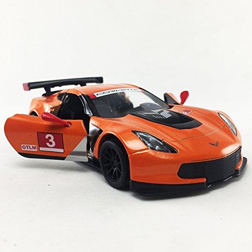 (KiNSMART Chevy Corvette C7 Race Car #3, Orange w/ Decals 1:36 DieCast)