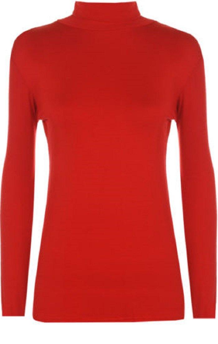Girls Kids Winter Plain Polo Neck Long Sleeve Top T-Shirt Age 7-13 Red Black