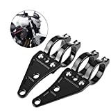 Qiilu 2pcs Fork Headlight Mounting Bracket Adjustable Universal Motorcycle Headlight Head Lamp Holder 35mm-41mm Black