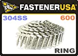 """1"""" Ring 304 Stainless Coil Roofing Nails 600ct"""
