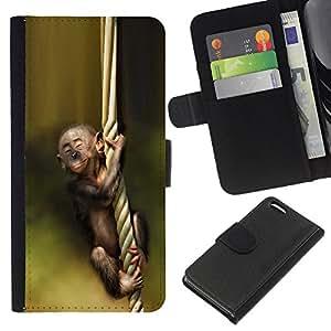 Apple iPhone 5C , la tarjeta de Crédito Slots PU Funda de cuero Monedero caso cubierta de piel ( Monkey Green Nature Cute Baby Forest)