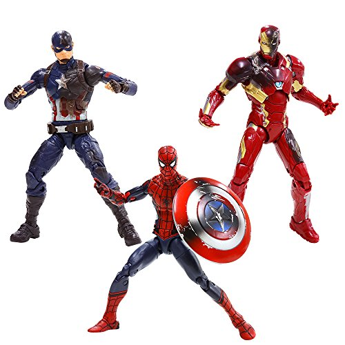 (Marvel 6-Inch Legends Captain America: Civil War Action Figure 3 Pack (Spider-Man, Captain America, and Iron Man Mark)