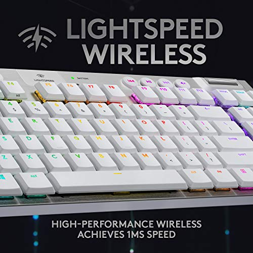 Logitech G915 TKL White Tactile Tenkeyless Lightspeed Wireless RGB Mechanical Gaming Keyboard, Low Profile Switch Options, LIGHTSYNC RGB, Advanced Wireless and Bluetooth Support