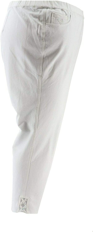 Quacker Factory DreamJeannes Ankle Pants Lattice White 3X NEW A301412