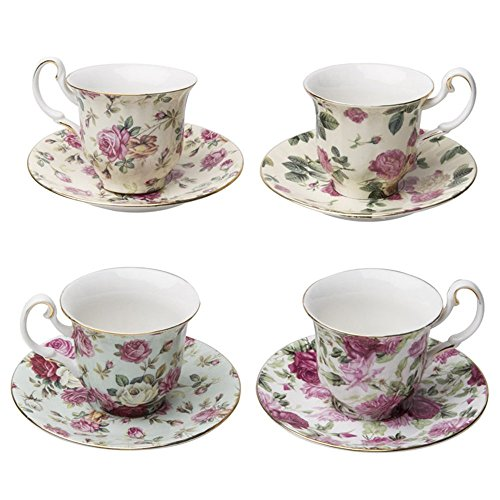 Gracie China Rose Chintz Porcelain Petite 3-Ounce Espresso/Demitasse Cup and Saucer with Gold Trim Set of 4 ()