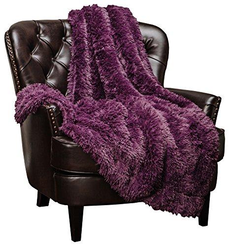 Chanasya Super Soft Shaggy Longfur Throw Blanket | Snuggly Fuzzy Faux Fur Lightweight Warm Elegant Cozy Plush Sherpa Microfiber Blanket | for Couch Bed Chair Photo Props -50