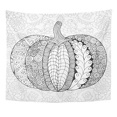 Emvency Wall Tapestry Coloring Zentangle Pumpkin Black White Traditional Symbol of Thanksgiving Halloween Autumn Sketch for Colouring Page Day Decor Wall Hanging Picnic Bedsheet Blanket 60x50 Inches