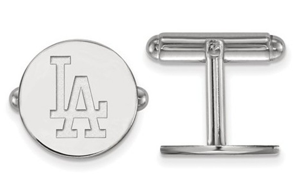 Rhodium-Plated Sterling Silver MLB Los Angeles Dodgers Round Cuff Links,15MM by The Men's Jewelry Store (Image #1)