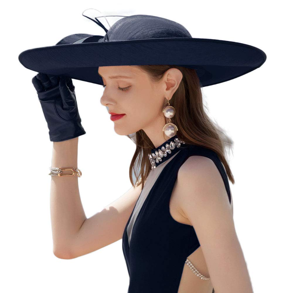 F FADVES Royal Ladies Sinamay Weddings Hats Fascinators Big Brim Kentucky Derby Church Fedoras Hat Navy