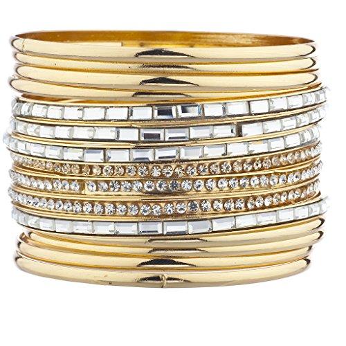 Baguette Gold Tone Bracelet - Lux Accessories goldtone Pave Rhinestone Baguette Stone Bracelet Set 15Pcs