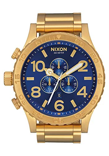 - NIXON 51-30 Chrono A088 - All Gold/Blue Sunray - 305M Water Resistant Men's Analog Fashion Watch (51mm Watch Face, 25mm Stainless Steel Band)