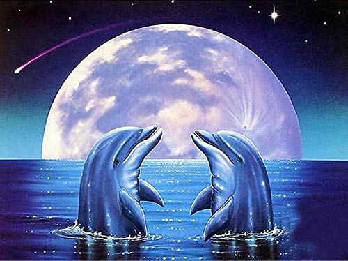 BYAMD 5d Diamond Painting Kits for Adults Kids Dolphin Full Drill Diamond dotz for Home Wall Decor 16x12inch(Canvas ()
