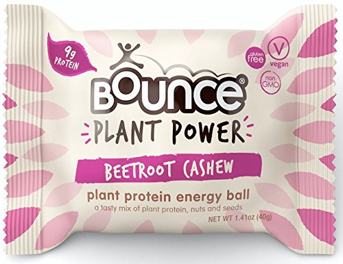 Bounce Plant Protein Energy Ball, Non-GMO, Vegan Snack with Natural Ingrediants, Beetroot Cashew, 1.41 Ounce per Ball, 12 Count