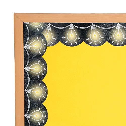 Fun Express - Light Bulb Chalkboard Borders - Educational - Classroom Decorations - Bulletin Board Decor - 12 ()