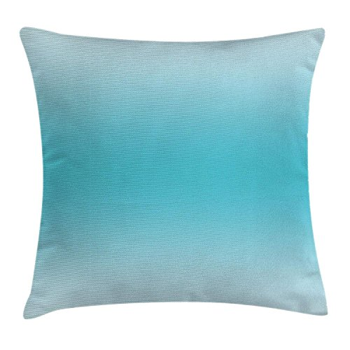 Rdkekxoel Ombre Throw Pillow Cushion Cover, Abstract Theme Tropical Beach Cove Aquatic Ombre Design Digital Printed Artwork Print, Decorative Square Accent Pillow Case, 18 X 18 Inches, Turquoise