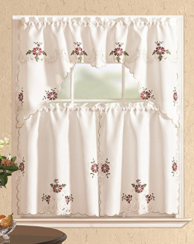 All American Collection 3 Piece Floral Embroidered Kitchen Curtain Set with Swag Valance, Burgundy
