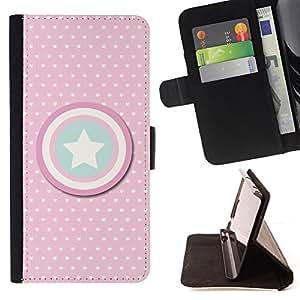 """For Motorola Moto E ( 2nd Generation ),S-type Lunar rosado América del Escudo"""" - Dibujo PU billetera de cuero Funda Case Caso de la piel de la bolsa protectora"""