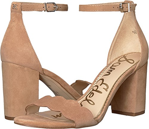 - Sam Edelman Women's Odila Ankle Strap Sandal Heel Camel Suede Leather 6 W US
