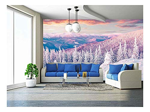 wall26 - Colorful Winter Sunrise in The Carpathian Mountains. Gorgany Ridge, Ukraine, Europe. Instagram Toning. - Removable Wall Mural | Self-Adhesive Large Wallpaper - 66x96 inches (Best Xmas Markets In Europe)